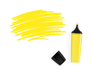 yellow marker, white background, scribbled field for text.