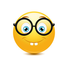 Nerd emoticon on a white background