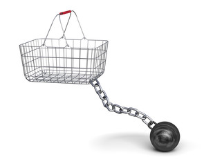 Shopping basket and steel ball on a chain