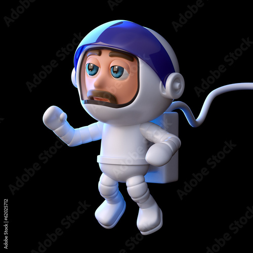 3d Astronaut floats in space