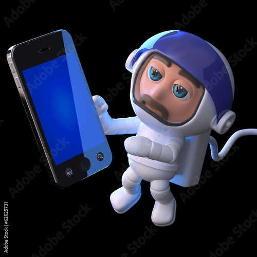 3d Astronaut makes a call in space