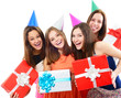 Joyful happy smiling young women have fun on birthday party