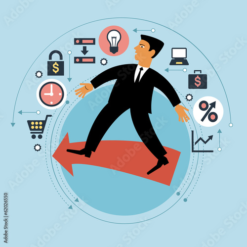 Cartoon man with arrow path and business icons