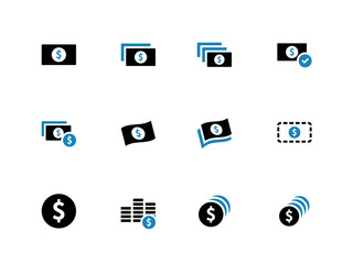 Dollar Banknote duotone icons on white background.