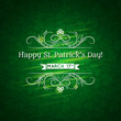 Card for St. Patrick's Day with text and many shamrocks, vector