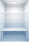 Inside view of an empty Modern Fridge with Blue Light