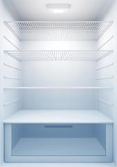 Inside view of an empty Modern Fridge with Blue Light