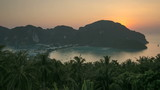 Sunset over Phi-Phi Don island in Thailand. Timelapse video.