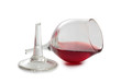 Broken red wineglass