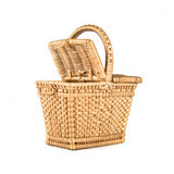 wicker basket over isolated white background