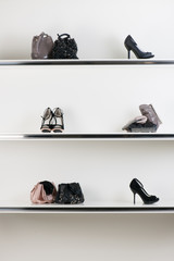 shelves filled with women's accessories