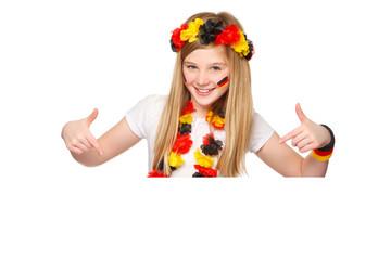 german soccer fan showing on copyspace