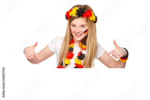 german soccer fan showing on copyspace