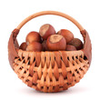 Hazelnuts in wicker basket