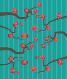 branch with pink cherry flowers on a striped background