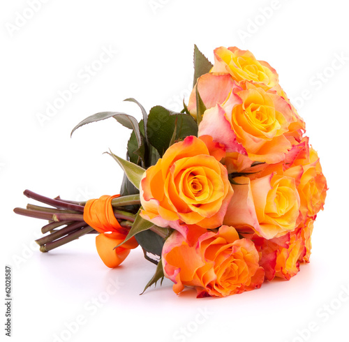 Yellow rose flower bouquet isolated on white background cutout