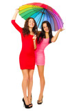 Two girls in red dresses with umbrella