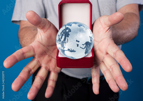 globe in man's hands