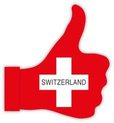 Schweiz Daumen hoch, Switzerland thumbs up