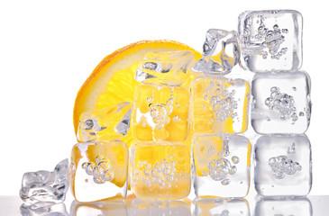 ice cubes and lemon slice