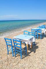 Greek tavern by the aegean sea