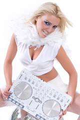 Beautiful Sexy Young Woman playing music on (pickup) mixer