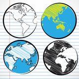 Planet earth hand writing world map