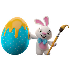 Happy Easter, amazing 3D easter bunny, merry cartoon rabbit