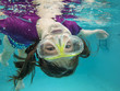 little girl swimming underwater having fun