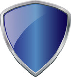 Glossy Shiny Shield Blue with Silver Border Vector Drawing eps10