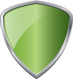 Glossy Shiny Shield Green with Silver Border Vector Drawing