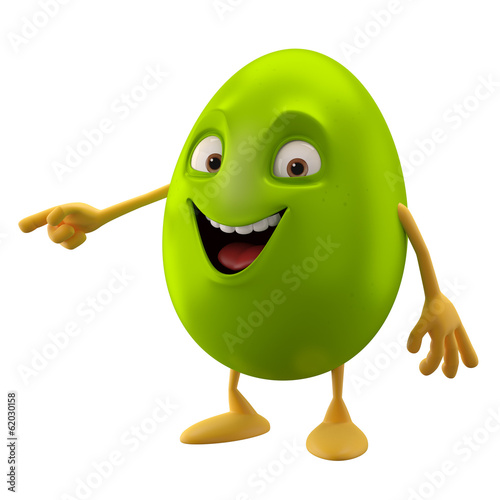 canvas print picture 3D easter character, cheerful cartoon, amusing egg isolated