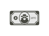 Bitcoin banknote on white background