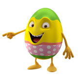 modern easter egg decorations, fun 3D cartoon character
