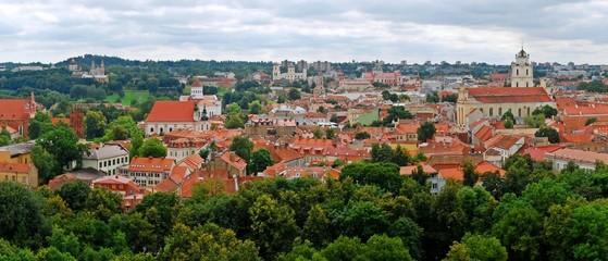View to the green Vilnius old city at summer time