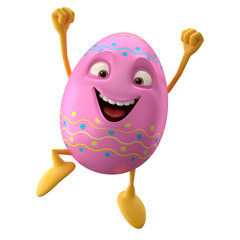 Happy Easter, 3D egg character, cheerful cartoon, amusing