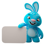 Amazing 3D easter bunny, merry cartoon rabbit isolated on white