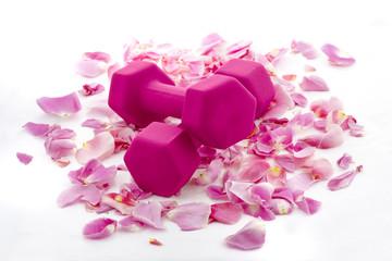Pink Dumbbells on a Bed of Rose Petals
