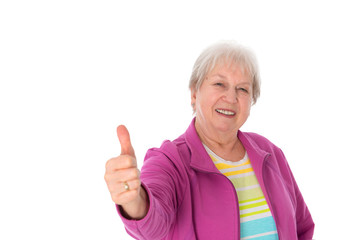 friendly female senior with thumb up