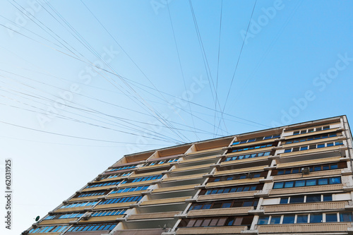 electrical wires of urban apartment house