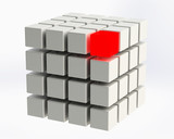 4x4 Cube with red LED cube