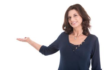 Attraktive lachende senior business Frau im Verkauf
