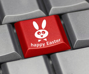 Computer key - Happy Easter with rabbit