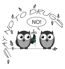Monochrome say no to drugs twig text