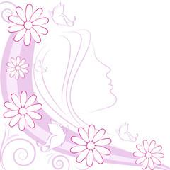Sfondo donna margherite e farfalle
