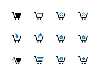 Shopping cart duotone icons on white background.