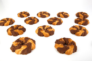 cookies with cacao on a white background