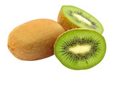 Fresh green kiwi taken closeup.Isolated.