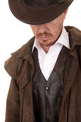 Cowboy leather coat hat looking down