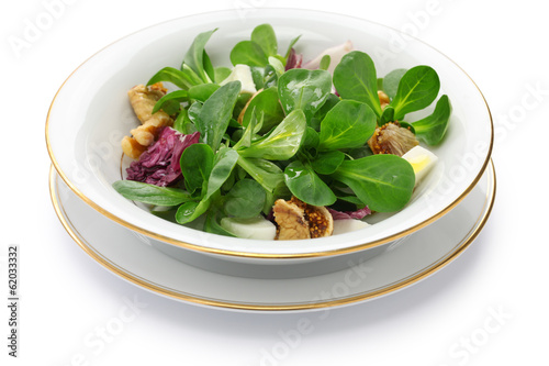 fresh corn salad on white background
